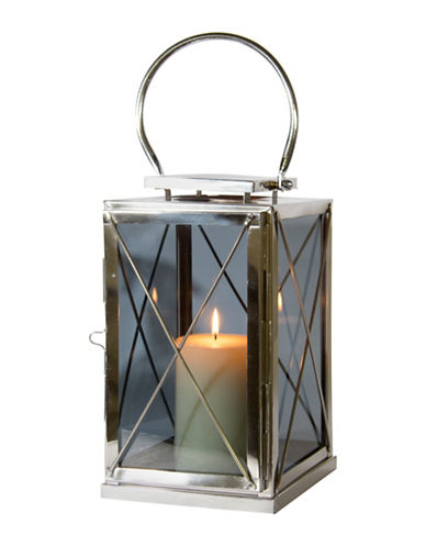Home Details Smoked Glass Short Lantern-SILVER-20