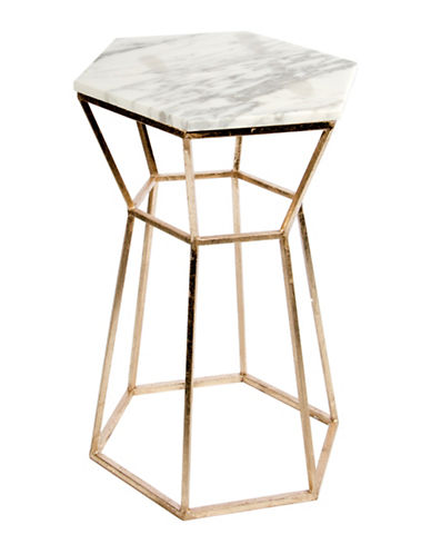 Home Details Marble Top Side Table-GOLD-One Size