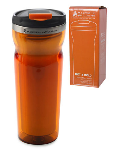 Maxwell & Williams Two-Pack Hot and Cold Travel Mugs-ORANGE-One Size