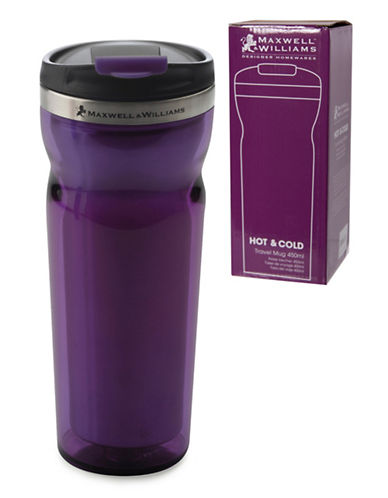 Maxwell & Williams Two-Pack Hot and Cold Travel Mugs-PURPLE-One Size