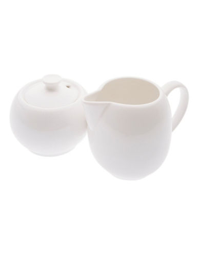 Maxwell & Williams Basics Set of Two Covered Sugar and Creamer Dishes-WHITE-One Size