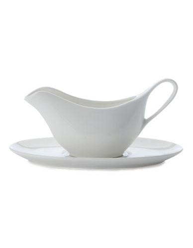 Maxwell & Williams Basics Set of Two Gravy Boats and Saucers-WHITE-One Size