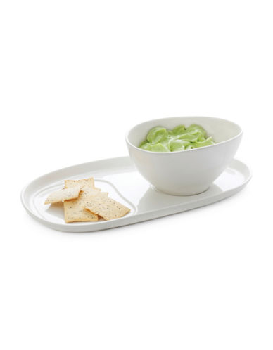 Maxwell & Williams Two-Piece Snack Plate and Bowl Set-WHITE-One Size
