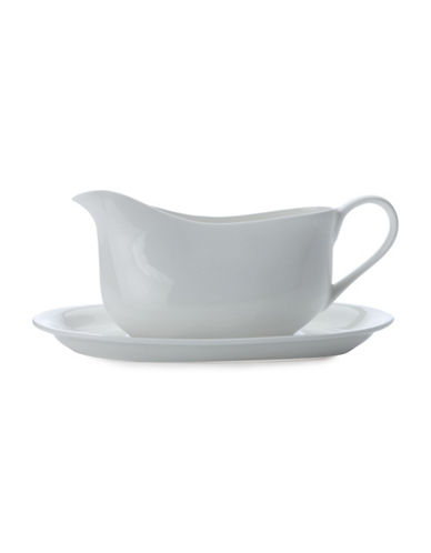 Maxwell & Williams Cashmere Two-Piece Gravy Boat and Stand Set-WHITE-One Size