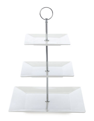 Maxwell & Williams Cosmo Porcelain Three-Tier Cake Stand-WHITE-One Size