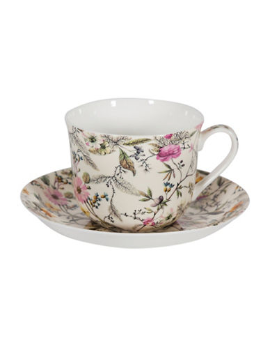 Maxwell & Williams Summer Blossom Two-Piece Cup and Saucer Set-MULTI-One Size