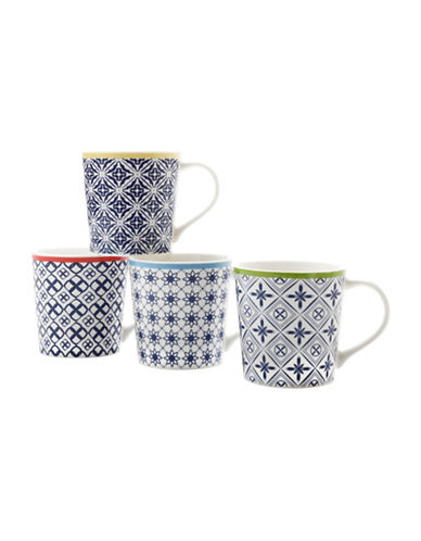 Maxwell & Williams Luxor Four-Piece Porcelain Mug Set-BLUE-One Size