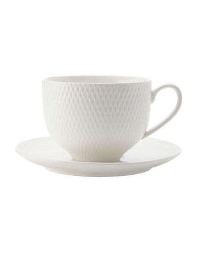 Maxwell & Williams Diamond Six-Piece Porcelain Cup and Saucer Set-WHITE-14cm 89362161_WHITE_14cm