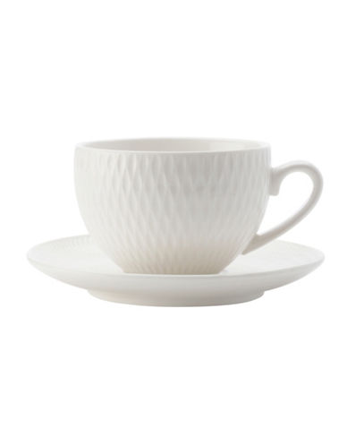 Maxwell & Williams Diamond Four-Piece Porcelain Cup and Saucer Set-WHITE-One Size 89362162_WHITE_One Size