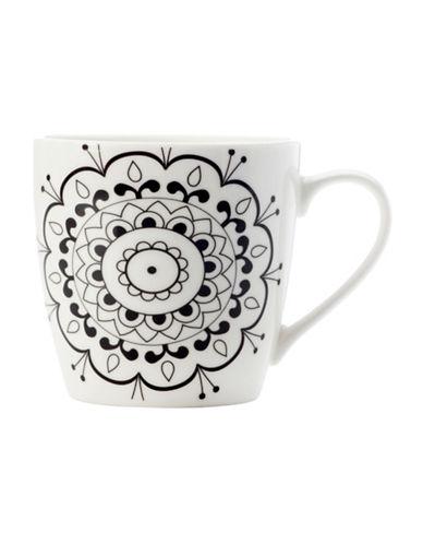 Maxwell & Williams Mindfulness Mandela Two-Piece Porcelain Mug Set-WHITE/BLACK-One Size 89362181_WHITE/BLACK_One Size