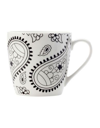 Maxwell & Williams Mindfulness Paisley Two-Piece Porcelain Mug Set-WHITE/BLACK-One Size 89362184_WHITE/BLACK_One Size