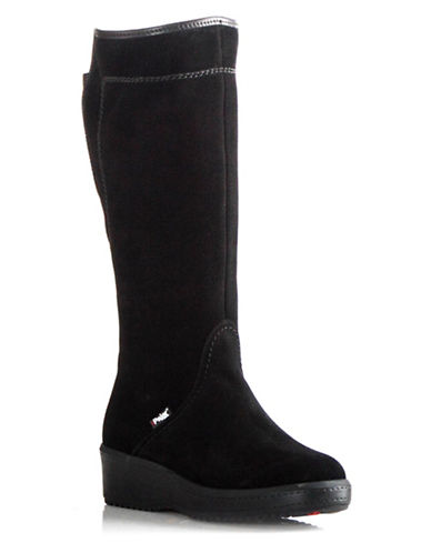 Pajar Lisa Suede Shearling Lined Boots-BLACK SUEDE-5