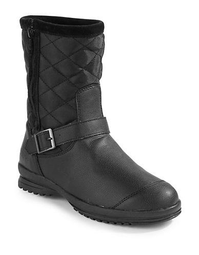 London Fog Lana Zip Quilt Boots-BLACK-EUR 37/US 7