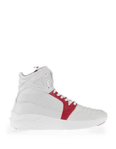 Pajar Tribeca Contrast Vintage Leather High-Tops-WHITE/RED-EU 40/US 7 plus size,  plus size fashion plus size appare