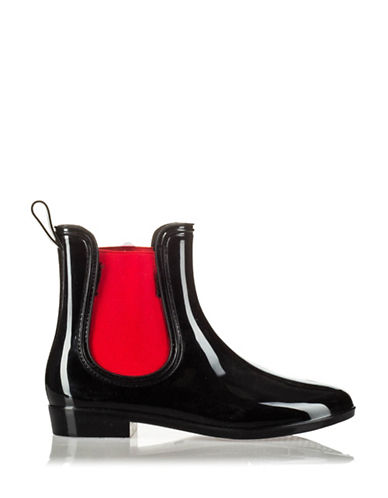 London Fog Manchester Rubber Boots-BLACK/RED-EUR 41/US 10