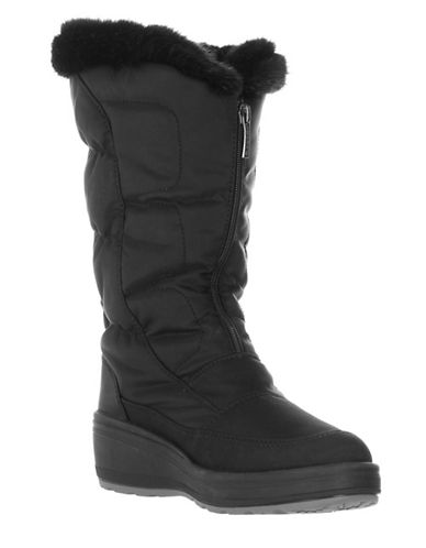 Pajar Louisa Faux-Fur Trim Winter Boots-BLACK-EUR 39/US 8