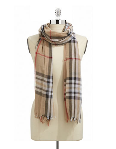 Lord & Taylor Classic Plaid Scarf-CAMEL-One Size