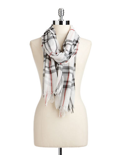 Lord & Taylor Classic Plaid Scarf-WHITE-One Size