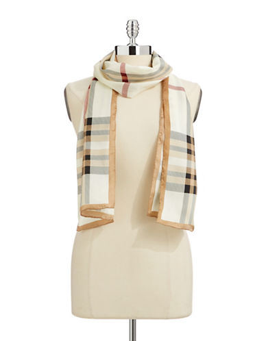 Lord & Taylor Plaid Silk Scarf-IVORY-One Size