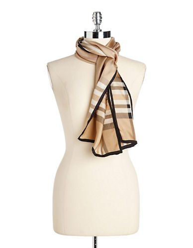 Lord & Taylor Plaid Silk Scarf-CAMEL-One Size