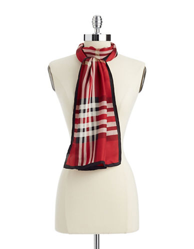Lord & Taylor Plaid Silk Scarf-RED-One Size