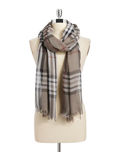 Lord & Taylor Classic Plaid Scarf-TAUPE-One Size