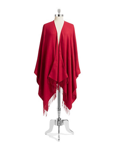 Lord & Taylor Solid Ruana-RED-One Size