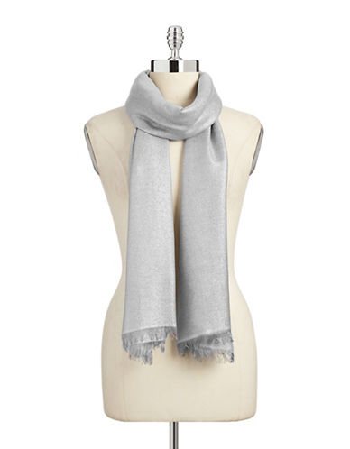 Lord & Taylor Solid Lurex Scarf-SILVER-One Size