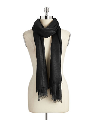 Lord & Taylor Solid Lurex Scarf-BLACK-One Size