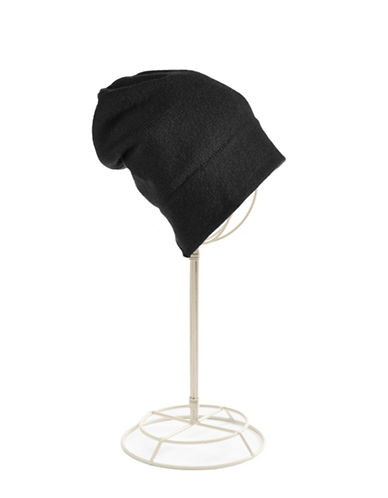 Lord & Taylor Cashmere Tuque-BLACK-One Size