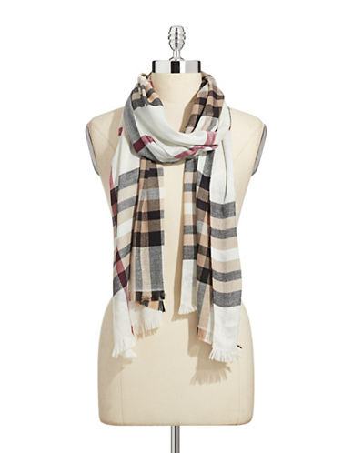 Lord & Taylor Classic Plaid Lurex Scarf-BEIGE-One Size
