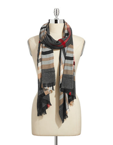 Lord & Taylor Classic Plaid Lurex Scarf-BLACK-One Size