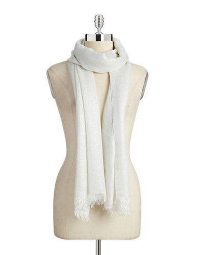 Lord & Taylor Solid Lurex Scarf-WHITE-One Size