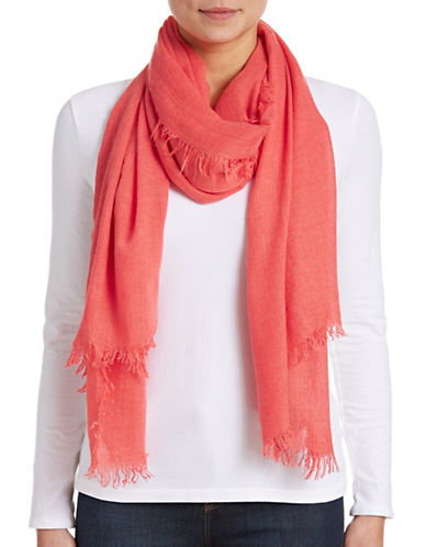 Lord & Taylor Solid Fringe Scarf-CORAL-One Size