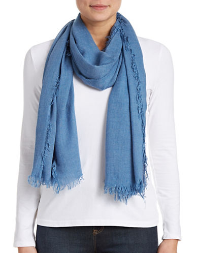 Lord & Taylor Solid Fringe Scarf-DENIM-One Size