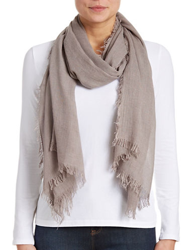 Lord & Taylor Solid Fringe Scarf-TAUPE-One Size
