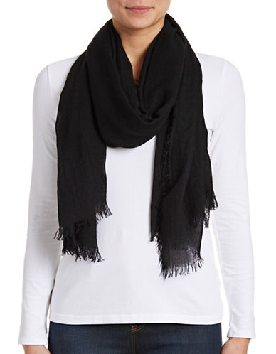 Lord & Taylor Solid Fringe Scarf-BLACK-One Size