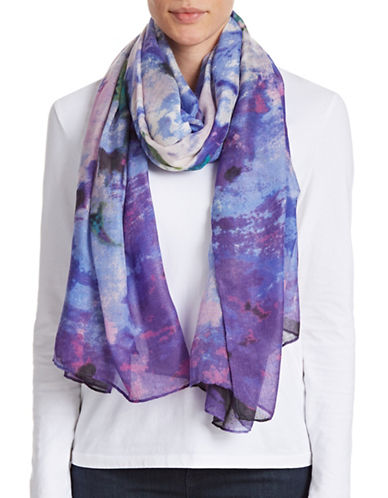 Lord & Taylor Watercolour Floral Scarf-PURPLE-One Size