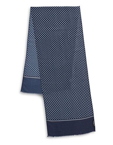 London Fog Raw-Trim Geometric Scarf-NAVY-One Size