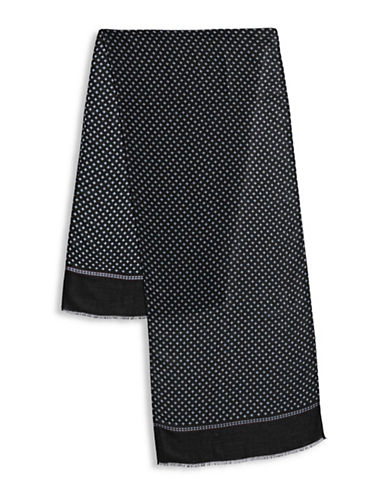 London Fog Raw-Trim Geometric Scarf-BLACK-One Size