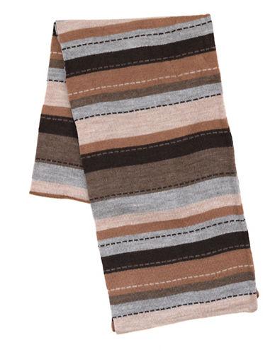 Black Brown 1826 Stitch Stripe Scarf-TAUPE-One Size