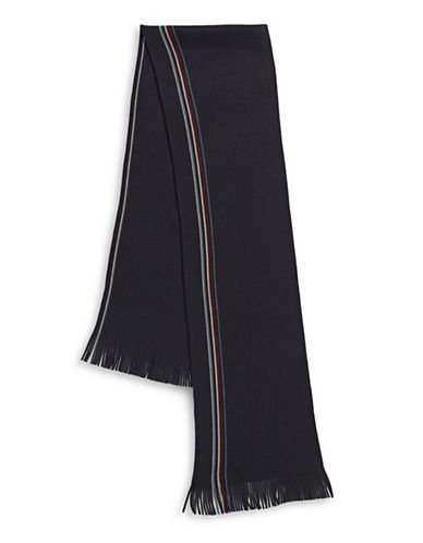 Black Brown 1826 Frilled Striped Raschel Scarf-NAVY-One Size