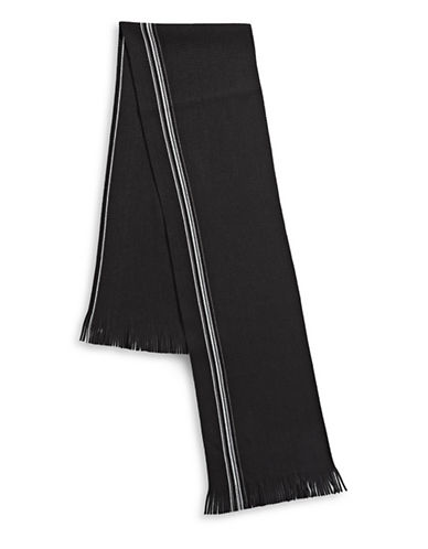 Black Brown 1826 Frilled Striped Raschel Scarf-BLACK-One Size