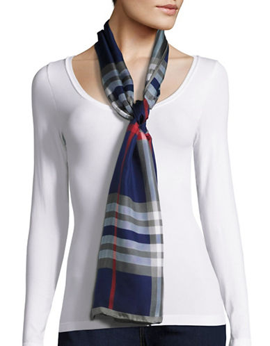 Lord & Taylor Plaid Silk Scarf-NAVY-One Size