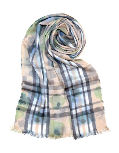 Lord & Taylor Fraas Plaid Floral-BLUE-One Size