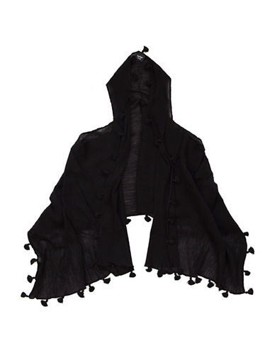 Lord & Taylor Pom Trim Vest-BLACK-One Size