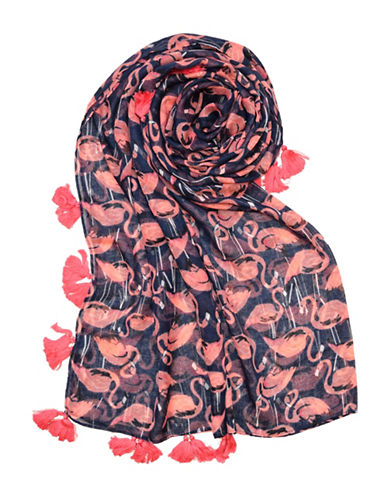 Lord & Taylor Flamingo Tassel Trim Square Scarf-NAVY-One Size