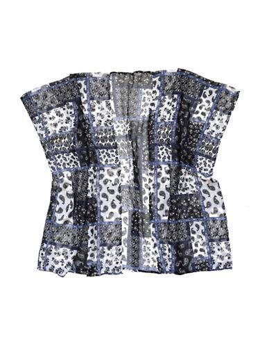 Lord & Taylor Paisley Patch Kimono-BLACK-One Size