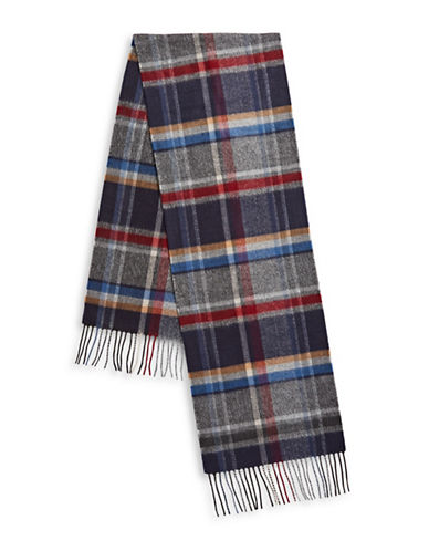 London Fog Textured Plaid Scarf-NAVY-One Size