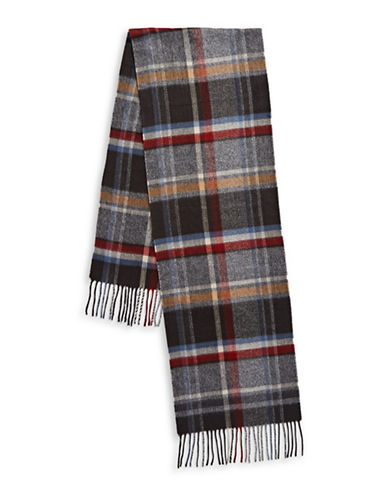 London Fog Textured Plaid Scarf-RED-One Size